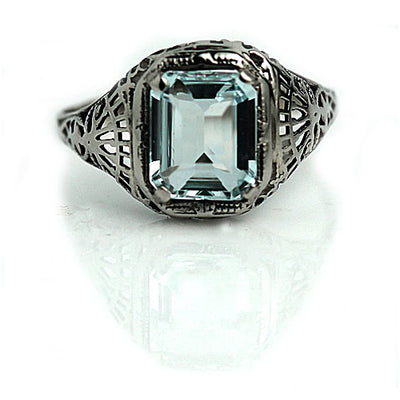 Estate 2.20 ct Aquamarine Engagement Ring
