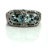 Twin Stone Aquamarine and Diamond Engagement Ring
