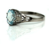 Antique 1.50 Carat Aquamarine Engagement Ring