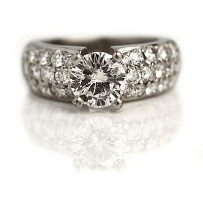Vintage Pave Set Diamond Engagement Ring
