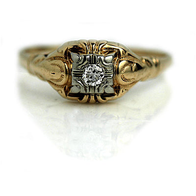 1940's Mid Century Two Tone Diamond Ring with Filigree