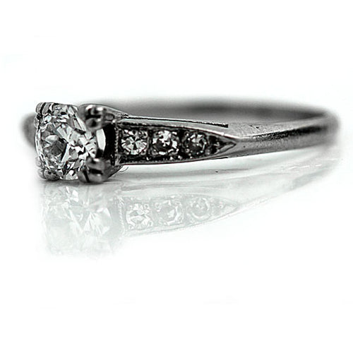 Mid Century .55 Carat Diamond Platinum Engagement Ring