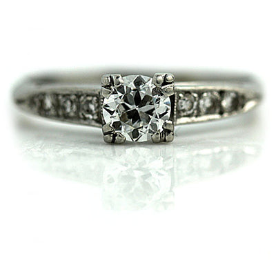 Trefoil Prong Engagement Ring with Side Diamonds