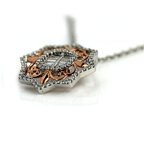 Estate Baguette and Round Diamond Rose Gold Necklace
