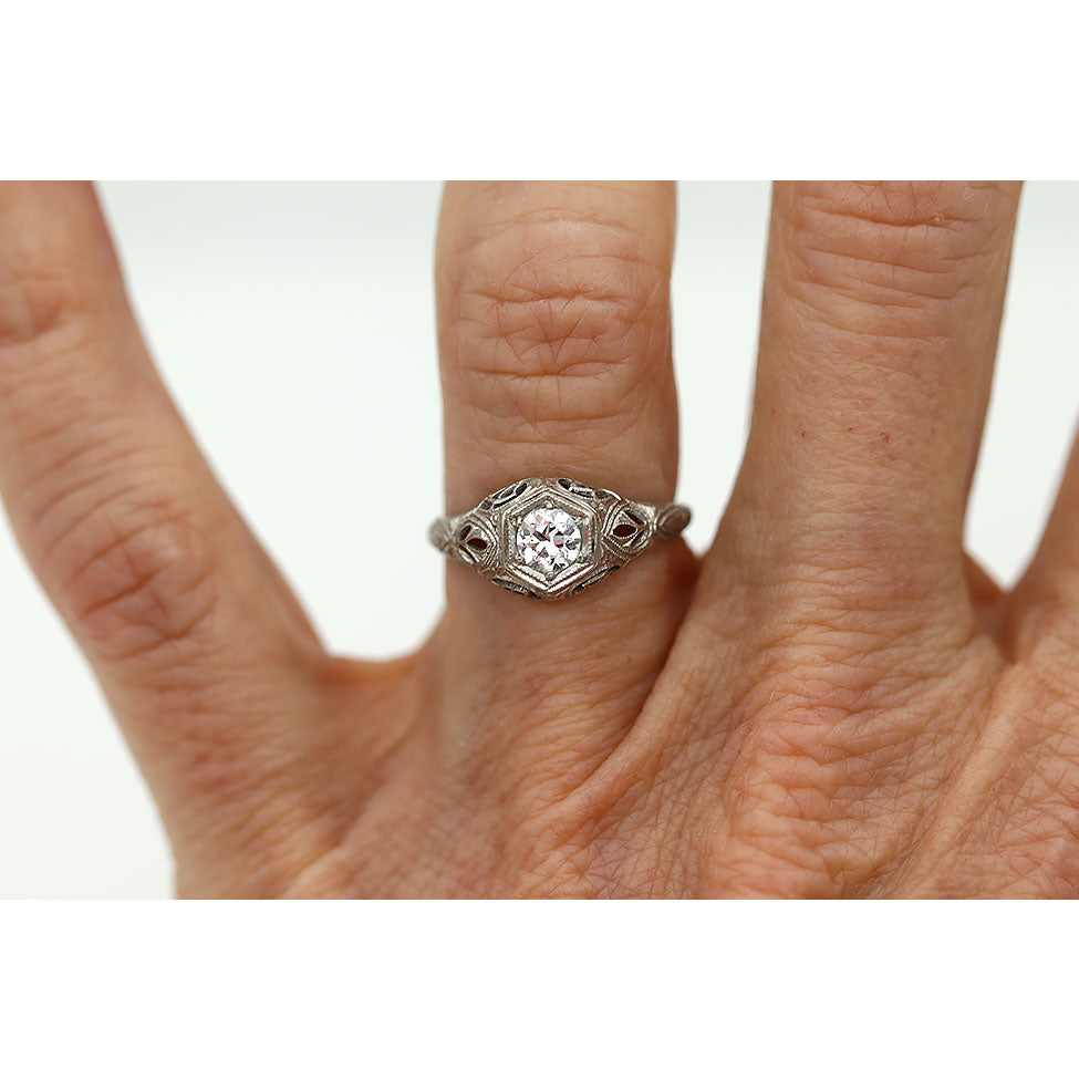 Art Deco Diamond Engagement Ring Signed Belais