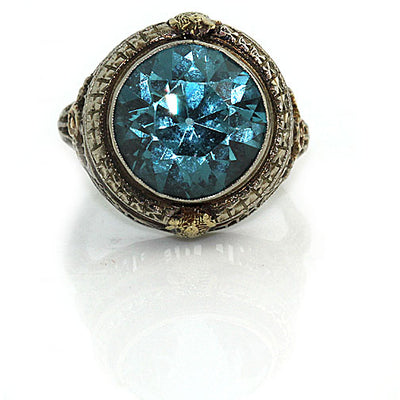 Unique Blue Zircon Engagement Ring - Vintage Diamond Ring