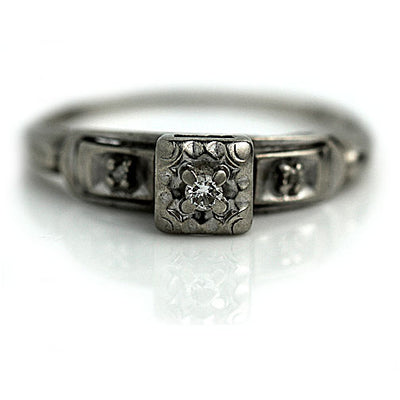 Promise Ring with Rose Cut Side Stones