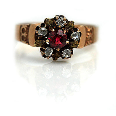 Victorian Ruby & Diamond Halo Engagement Ring - Vintage Diamond Ring