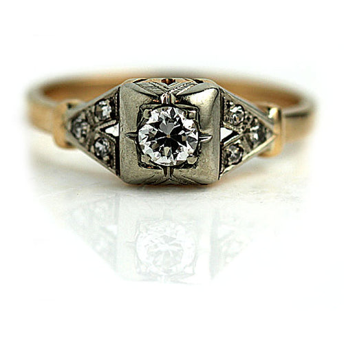.25 Carat Vintage Two Tone Engagement Ring