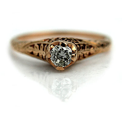 Vintage Rose Gold Diamond Solitaire Engagement Ring