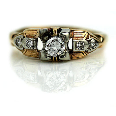 Antique Two Tone Diamond Engagement Ring with Side Stones