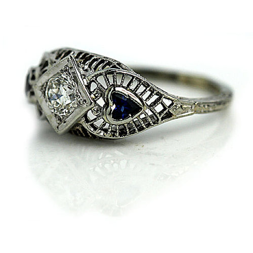 Art Deco .25 Carat Diamond Sapphire Engagement Ring