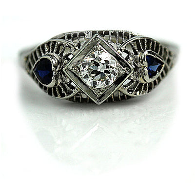 Diamond & Heart Shaped Sapphire Engagement Ring - Vintage Diamond Ring