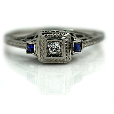 Mine Cut Diamond & Sapphire Filigree Engagement Ring - Vintage Diamond Ring