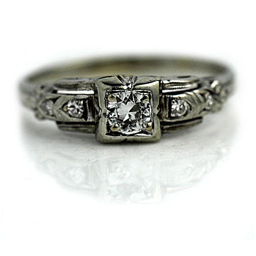 Antique Diamond Engagement Ring .30 Carat