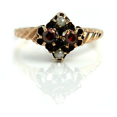 1940s Garnet & Pearl Engagement Ring