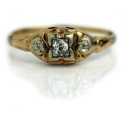 1940s Late Art Deco Two Tone Diamond Ring