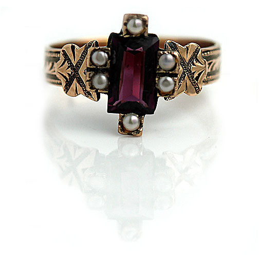 Unique Tourmaline & Pearl Engagement Ring