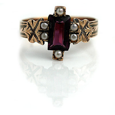 Rectangular Cut Tourmaline & Pearl Engagement Ring - Vintage Diamond Ring