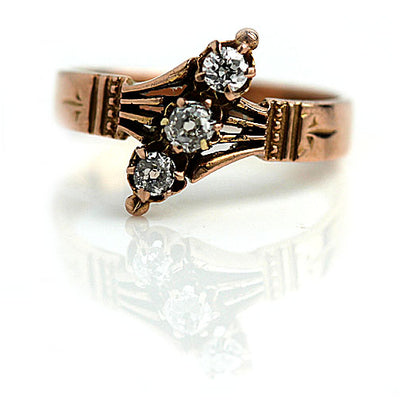 3 Stone Old Mine Cut Diamond Engagement Ring