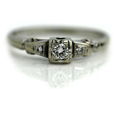 Transitional Cut Diamond Three Stone Engagement Ring