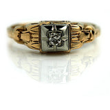 Antique Two Tone Diamond Ring Circa 1940's