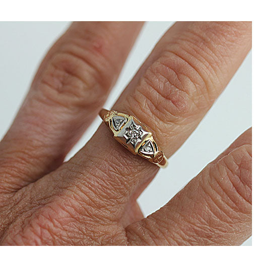 Mid-Century Engagement Ring in 14 Kt Two Tone Gold
