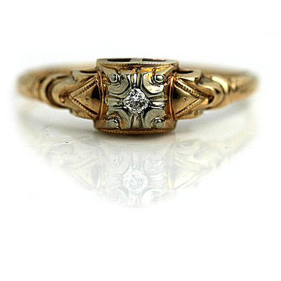 1950s European Cut Diamond Engagement Ring with Filigree