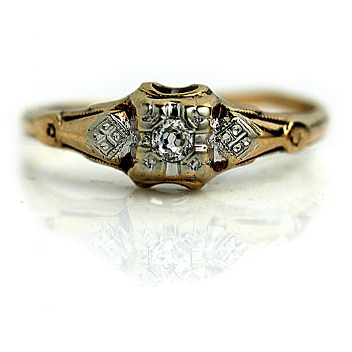 Vintage Two Tone Illusion Diamond Engagement Ring