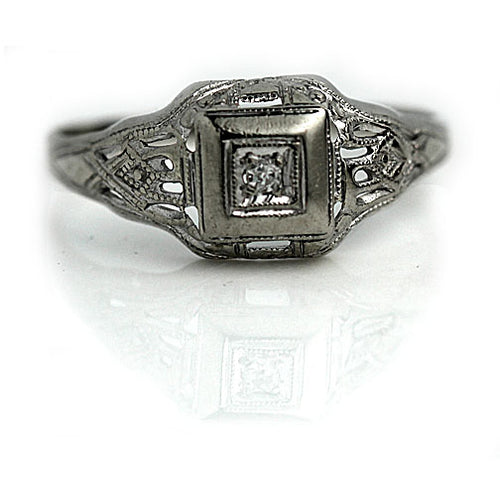 White Gold Geometric Square Promise Ring