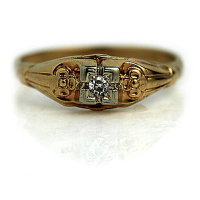 Solitaire Diamond Engagement Ring with Filigree Band