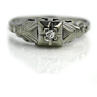 Antique Engagement Ring with Tiered Side Engravings