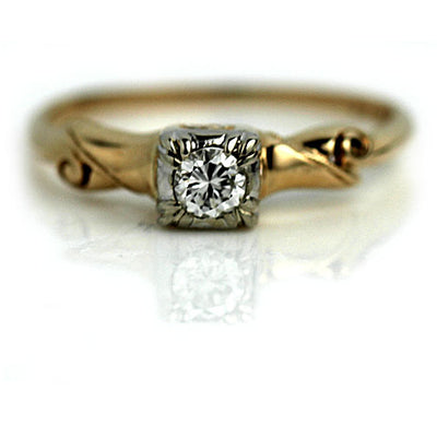 Antique .20 Carat Transitional Cut Diamond Engagement Ring