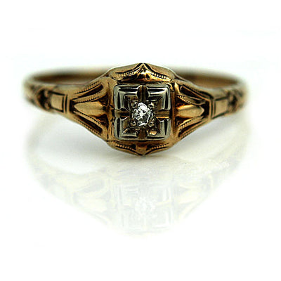 Solitaire Diamond Ring with Filigree Band