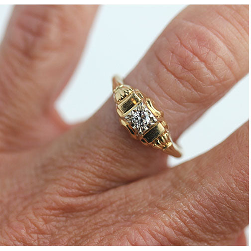 1940's Vintage Two Tone Solitaire Engagement Ring
