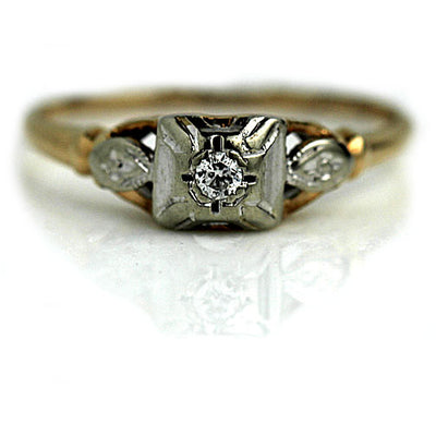 Transitional Cut Engagement Ring with Light Patina