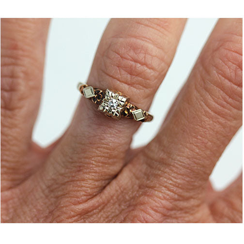 Dainty Diamond Engagement Ring with Filigree Side Engravings