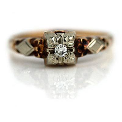 Two Tone Solitaire Engagement Ring with Filigree Engravings