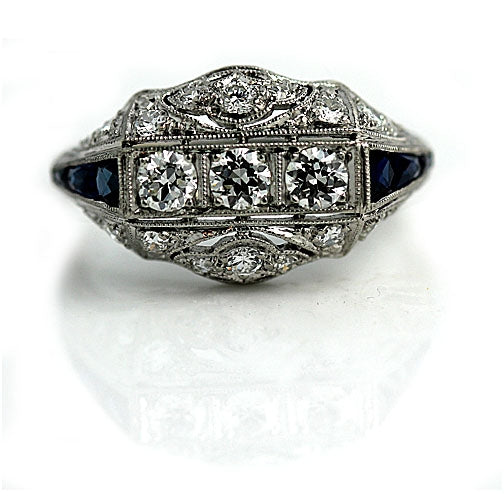 Diamond Engagement Ring with Sapphire Side Stones