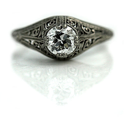 Antique Solitaire Diamond Engagement Ring with Filigree