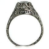 Art Deco .86 ct Engagement Ring with Linear Engravings
