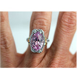 4.00 Carat Art Deco Pink Gemstone Engagement Ring