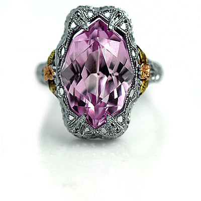 4.00 Carat Art Deco Pink Gemstone Engagement Ring - Vintage Diamond Ring
