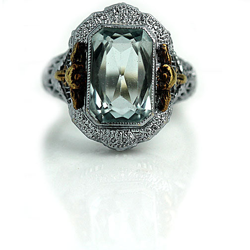 4.50 Carat Art Deco Aquamarine Engagement Ring