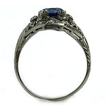 Art Deco Diamond 1.50 Carat Gemstone Sapphire Ring Platinum