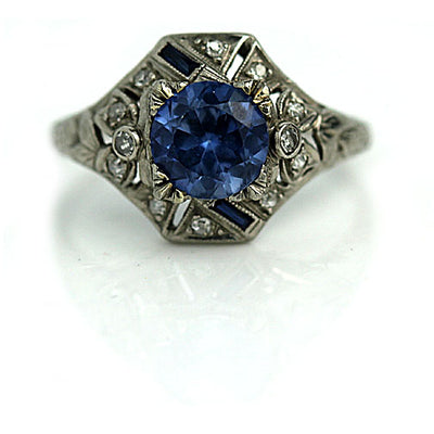 Unique Blue Gemstone & Sapphire Engagement Ring - Vintage Diamond Ring
