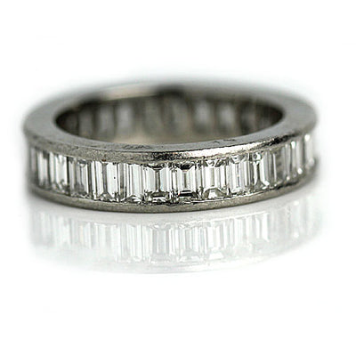 Vintage Platinum Baguette Diamond Eternity Band