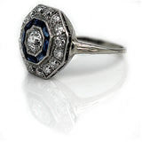 Art Deco Diamond Sapphire Engagement Ring in Platinum