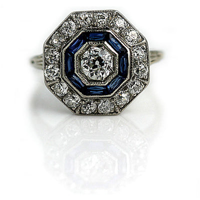 Art Deco Diamond & Sapphire Halo Engagement Ring - Vintage Diamond Ring