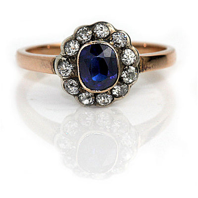 Vintage Bezel Set Sapphire Halo Engagement Ring - Vintage Diamond Ring